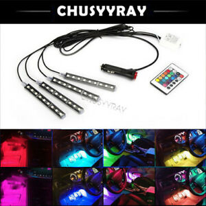 4pcs Rgb 8 Colors Motorcycle Atv 36 Led Neon Under Glow Accent Light Strip Kit