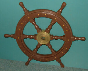 Vintage Old 24 Ship S Wheel Wood And Brass