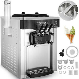 Commercial Soft Serve Ice Cream Machine Stainless Frozen Yogurt Maker 3 Flavor