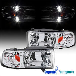 For 1994 2001 Dodge Ram 1500 2500 3500 Led Crystsl Headlights Lamps Pair