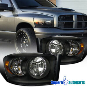 For 2006 2008 Dodge Ram 1500 2006 2009 Ram 2500 3500 Srt Black Headlights Lamp