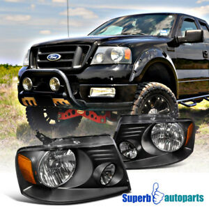 For 2004 2008 Ford F150 Truck Black Headlights Head Lamps Pair Left Right