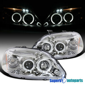 For 1996 1998 Honda 96 98 Civic Dual Halo Projector Headlights Led Bar Lamps