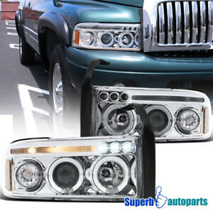 For 1994 2001 Dodge Ram Led Drl Dual Halo Projector Headlights Lamp Pair