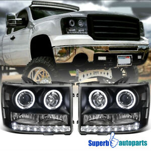 For 2007 2013 Gmc Sierra 1500 2500 3500hd Led Halo Projector Headlight Black