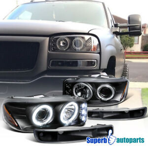 For 1999 2006 Gmc Sierra 00 06 Yukon Projector Headlights Black Bumper Lamps