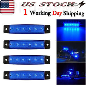 4x 3 8 Blue Led Truck Trailer Side Marker Lights Clearance Light Bar
