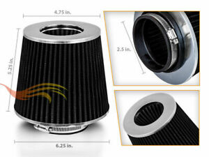 Black 2 5 Inches 2 5 63mm Inlet Cold Air Intake Cone Dry Filter