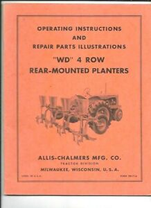 Allis chalmers Wd 4 Row Rear Mounted Planters Operating Instructions Manual