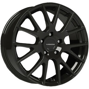 4 Vision 18 Hellion 15x6 5 4x100 38mm Gloss Black Wheels Rims 15 Inch