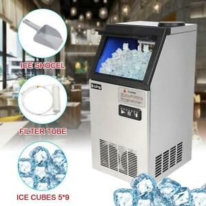 New 150lbs Commercial Auto Ice Maker Cube Stainless Steel Bar Restaurant Freezer