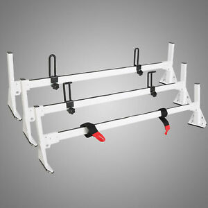 Ladder Roof Racks Steel White Rack For 96 19 Chevy Express Fullsize Van 3 Bar