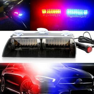 Car 16 Led Red Blue Police Strobe Flash Light Dash Emergency Bar Warning Lamp
