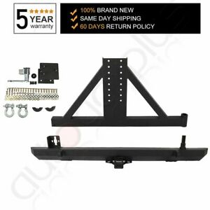 Rear Bumper With Tire Carrier Hitch Receiver Fits 87 06 Jeep Wrangler Tj Yj