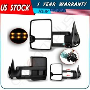 Pair Set Side Power Heated Clearance Signal Towing Mirrors For Silverado Sierra