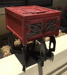 Vintage Chinese Carved Red Hardwood Red Cinnabar Game Box Chest