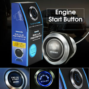 Car Engine Push Start Button Switch Ignition Starter Kit Blue Led On Off