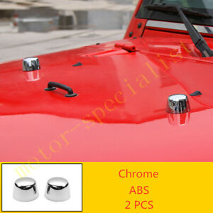 Abs Chrome Engine Hood Small Round Cover 2pcs Fit For Jeep Wrangler Jk 2011 2017