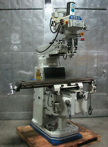 Acra Am 3v Vertical Mill Milling Machine 10 X 54 Bridgeport Type 3hp Dro Drawbar
