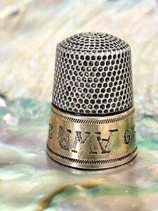 Antique Simons Bros Gold Band Sterling Silver Thimble Engraved Monogram 1928