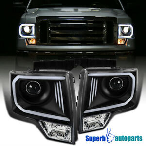 For 2009 2014 Ford F150 Led Drl Black Projector Headlights W Parking Lamps
