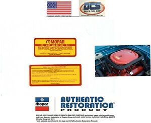 1969 A12 440 Six Pack Rr Super Bee Special Instructions Air Cleaner Decal Set
