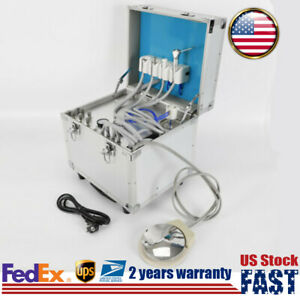 Portable Dental Unit 4 Hole Built in Oilless Air Compressor Saliva Ejector