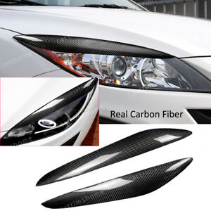 2 carbon Fiber Headlight Eyelids Eyebrow Cover For Mazda 3 Mazda3 Jdm 2010 2013