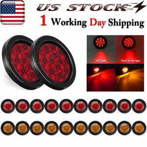 2x Round Upgrade Rear Led Submersible Trailer Truck Boat Marker Tail Light Kit