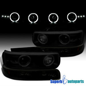 For 1999 2002 Silverado 1500 Dual Led Halo Headlights bumper Lamps Black Smoke