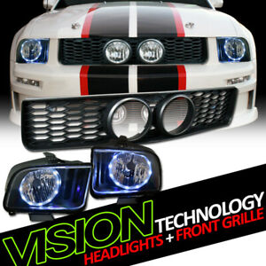 Blk Drl Led Halo Headlights Nb Honeycomb Mesh Grill Grille For 05 09 Mustang Gt