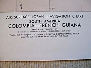 Vintage Navigational Chart Colombia French Guiana S America Ed 2 1968