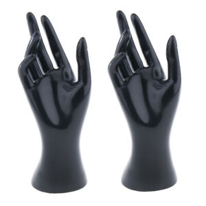 2x Mannequin Hand Jewelry Ring Watch Display Stand Fake Hand Manikin Black