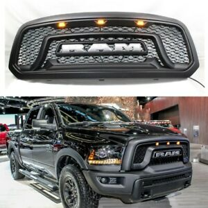 Grille Grill For Dodge Ram 1500 2013 2018 2017 Abs Bumper Mesh Rebel Style Black