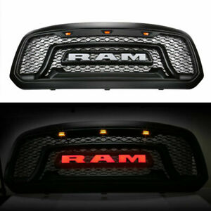 Abs Black Grille Fit For 2013 2018 Dodge Ram 1500 Rebel Style Grill Led Letters