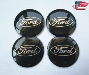 4pcs 2 2 Black Wheel Center Hub Caps Emblem Badge Alloy Decal For Ford