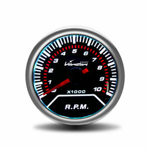 Hiwowsport Car 2 52mm Tachometer Tacho Gauge White Digital Led 0 10000 Rpm 12v