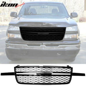 Fits 03 06 Chevy Silverado 1500 2500 3500 Front Bumper Hood Grille Gloss Black