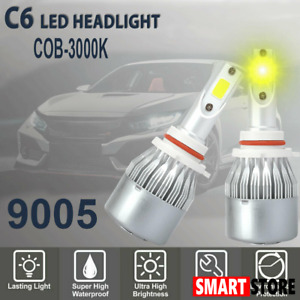 9005 9145 Cob Led Headlight High Beam Bulb 60w 6400lm 3000k Amber Yellow Light