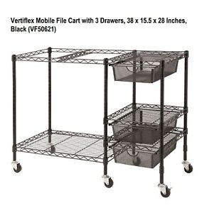 Mobile File Cart With 3 Drawers 38 X 15 5 X 28 Inches Black vf50621