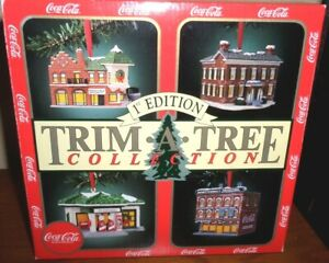 Coca Cola 1st Edition TRIM-A-TREE Collection 1991 Vintage 4 Building Ornaments