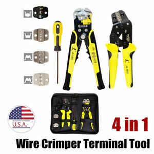 Crimper Tools Kit 4 In 1 Multi Tools Wire Engineering Ratchet Terminal Plier Us