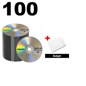 100 Exacon 16x Dvd r 4 7gb Logo Top shrink Wrap 100 Paper Sleeves