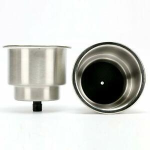 Pair Cup Drink Holder Boat Car Truck Bottle Stand Holder Brushed Stainless Steel