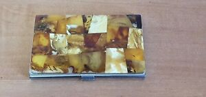 Amber Baltic Business Card Holder Handmade Man Woman Visit Case Vintage