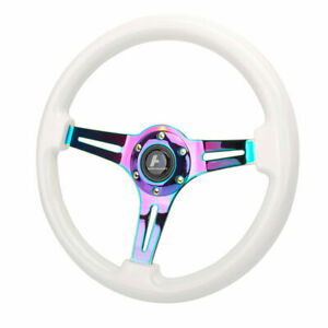 Hiwowsport 14 White Wood Steering Wheel 6 Bolts 1 75 Depth Neo Chromed Spoke