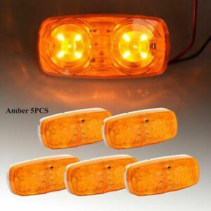 5x Trailer Amber Marker Led Light Double Bullseye 10 Diodes Clearance Lamp
