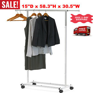 Portable Clothing Garment Rack Heavy Duty Rolling Clothes Rack Collapsible Cloth