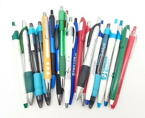 20 Misprint Plastic Barrel Ballpoint Pens Assorted Retractable