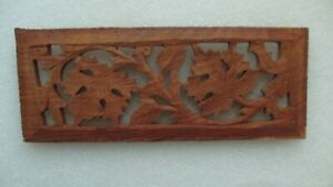 Leaf Carved Teak Fretwork Style Panel Crest 8 1 2 X 3 3 8 More Available